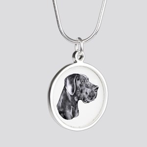 Great Dane HS Blue UC Silver Round Necklace