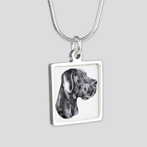 Great Dane HS Blue UC Silver Square Necklace