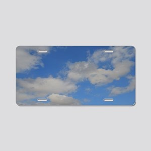 Blue and White Aluminum License Plate