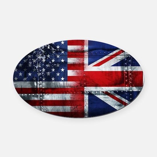 UK USA FLAG Oval Car Magnet