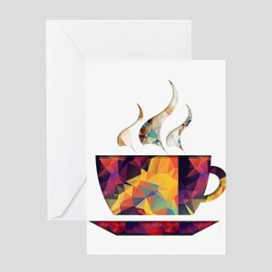 Colorful Cup of Coffee copy Greeting Cards