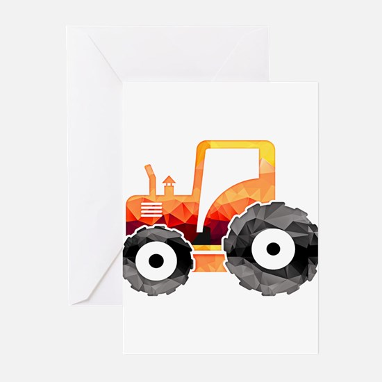Polygon Mosaic Orange Tractor Greeting Cards