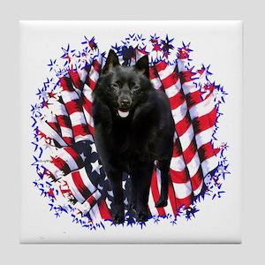 Schipperke Patriotic Tile Coaster