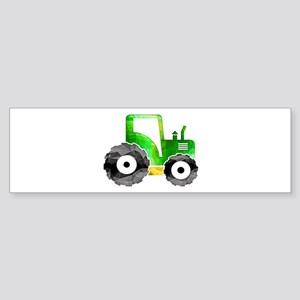 Polygon Mosaic Green Yellow Tractor Bumper Sticker