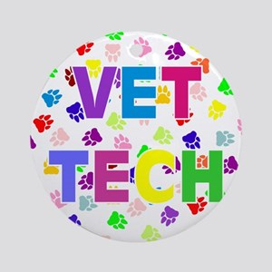 Vet Tech W/Paws Ornament (Round)