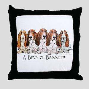 Basset Hound Bevy Throw Pillow