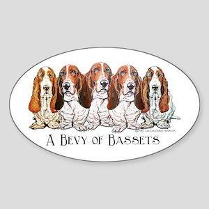 Basset Hound Bevy Oval Sticker
