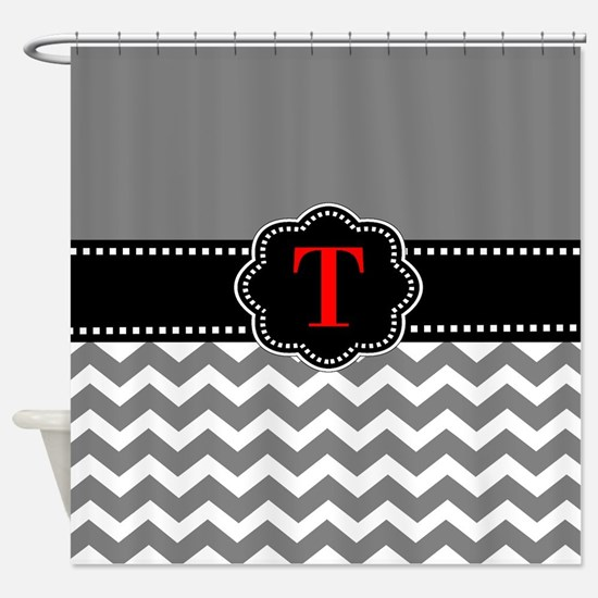 gray and red shower curtain. Gray Black Chevron Personalized Shower Curtain Red And Curtains  CafePress