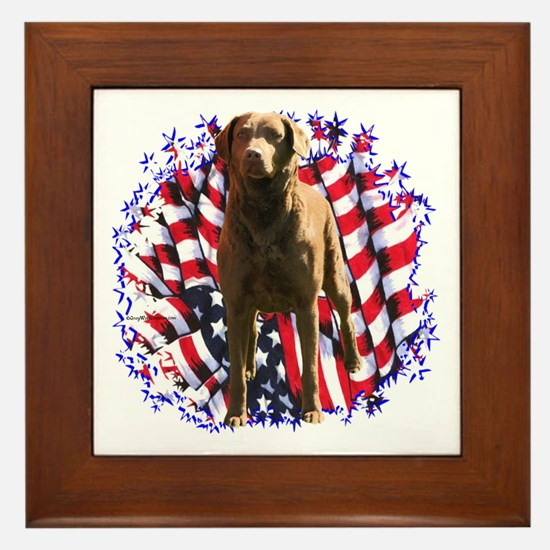 Chessie Patriotic Framed Tile
