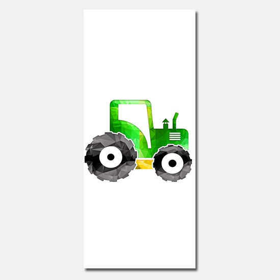 Polygon Mosaic Green Yellow Tractor Invitations