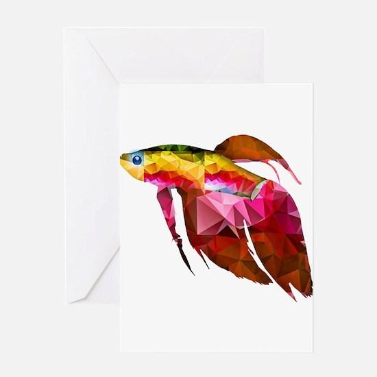 Beta Fish for Polygon Mosaic Red Yellow Greeting C