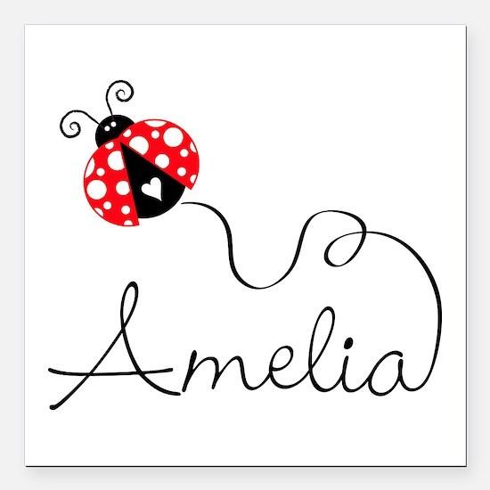 "Ladybug Amelia Square Car Magnet 3"" X 3"""