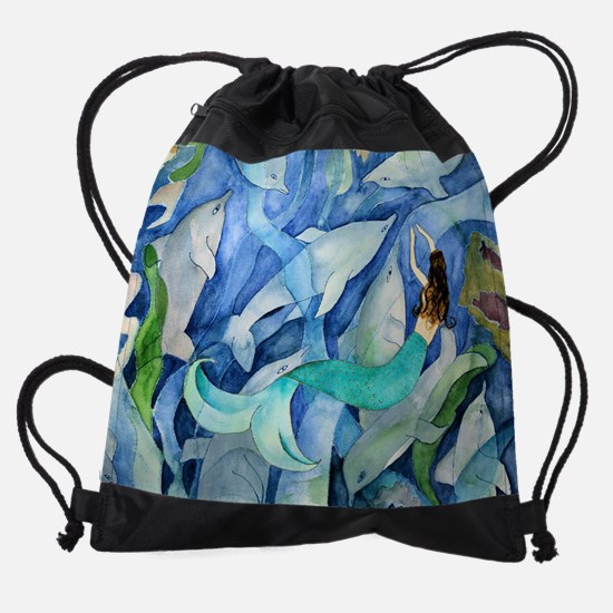 Dolphins and mermaid Drawstring Bag