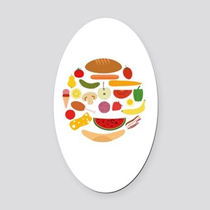 Foods In Circle Oval Car Magnet