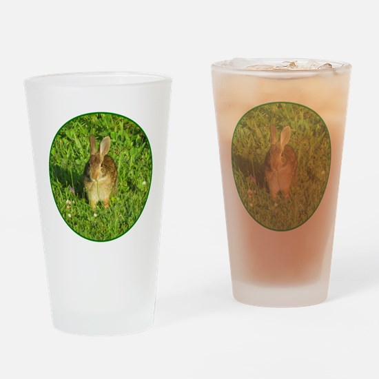 Rabbit Eating Weeds Drinking Glass