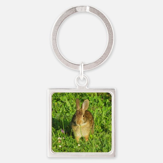 Rabbit Eating Weeds Square Keychain