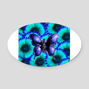 Purple Butterfly on Blue Purple Flowers Oval Car M