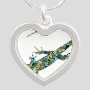 Mosaic Polygon Green Lizard Necklaces