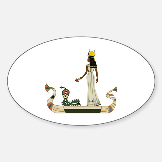Egyptian God with snake on boat Sticker (Oval)