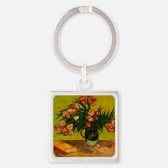 Van Gogh Vase With Oleanders And Books Keychains