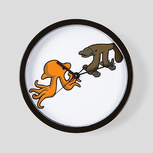Octopi VS Platypi Wall Clock