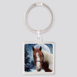 Paint Horse Winter Square Keychain