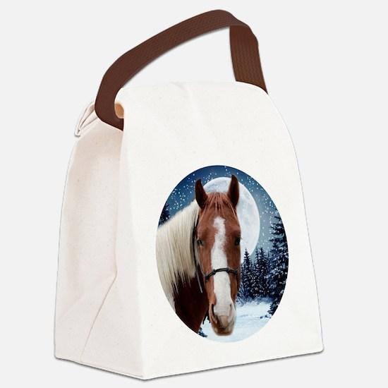 Paint Horse Winter Canvas Lunch Bag