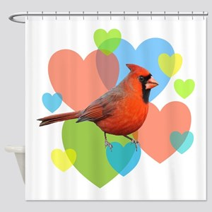Cardinal Hearts Shower Curtain