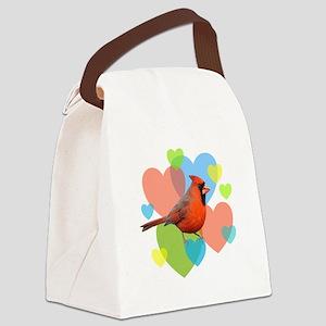 Cardinal Hearts Canvas Lunch Bag