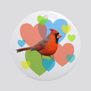 Cardinal Hearts Ornament (Round)