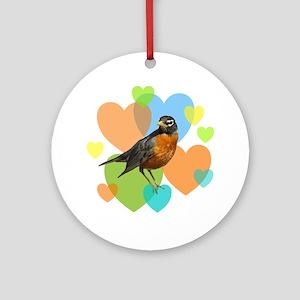 Robin Hearts Ornament (Round)