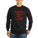 Peace Love Crawfish Long Sleeve Dark T-Shirt