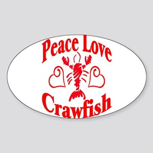 Peace Love Crawfish Oval Sticker