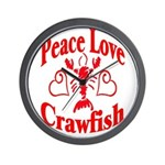 Peace Love Crawfish Wall Clock