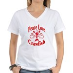 Peace Love Crawfish Women's V-Neck T-Shirt
