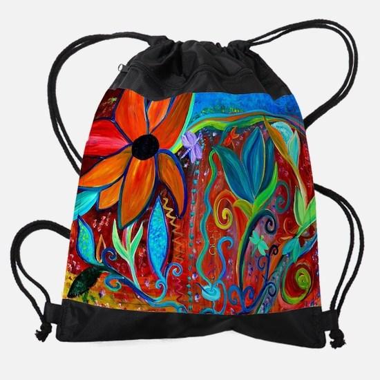 Abstract floral Drawstring Bag