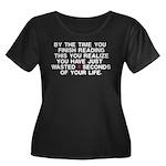Lost Time Women's Plus Size Scoop Neck Dark T-Shir