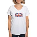 UNION JACK UK BRITISH FLAG Women's V-Neck T-Shirt