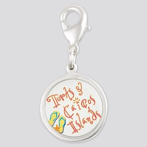 Turks and Caicos - Silver Round Charm