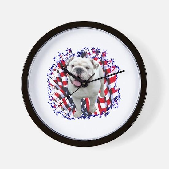 Bulldog Patriotic Wall Clock