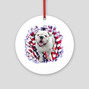 Bulldog Patriotic Ornament (Round)