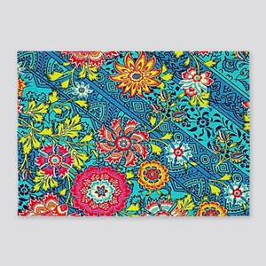 Beautiful Modern Pink Yellow Floral On Blue 5'x7'A