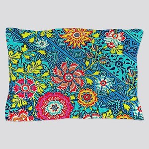 Beautiful Modern Pink Yellow Floral On Blue Pillow