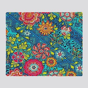 Beautiful Modern Pink Yellow Floral On Blue Throw