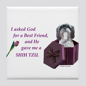 Shih Tzu (Black & White) Tile Coaster