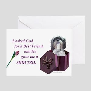 Shih Tzu (Black & White) Greeting Cards (Package o