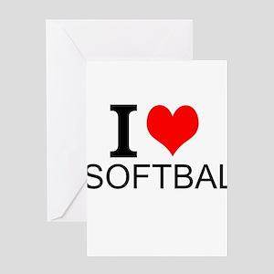 I Love Softball Greeting Cards