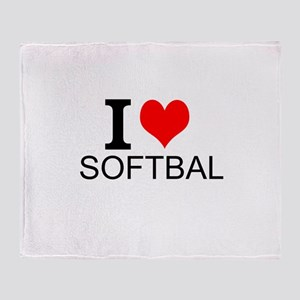 I Love Softball Throw Blanket