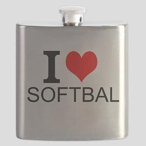 I Love Softball Flask