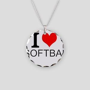 I Love Softball Necklace